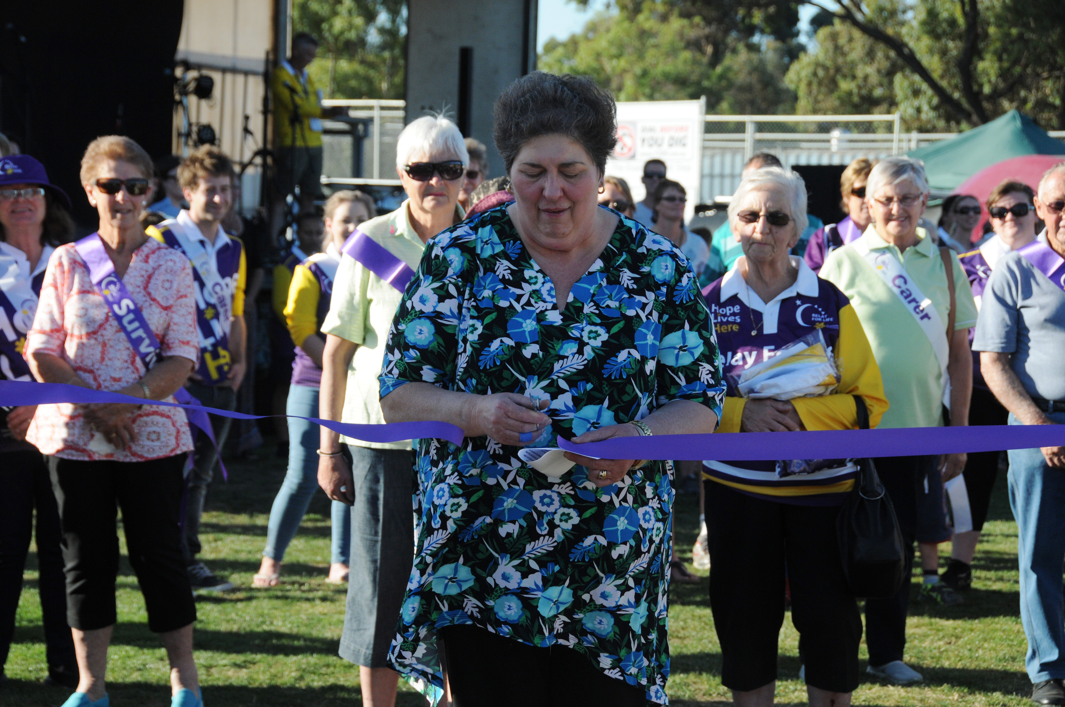 Image - Horsham and District Relay for Life, 170317. Relay stalwart Maria Marchesini recited the Relay for Life oath and cut the ribbon to offically begin this year