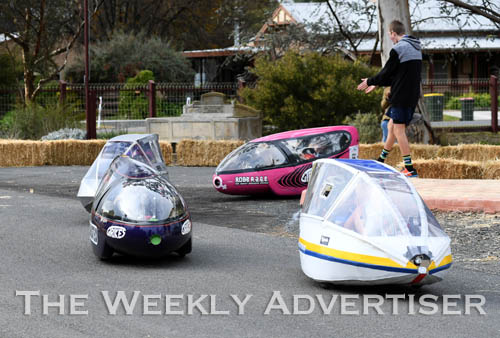 Image - Drivers turn a corner at the first Human Powered Vehicle 'expo' at Dimboola.