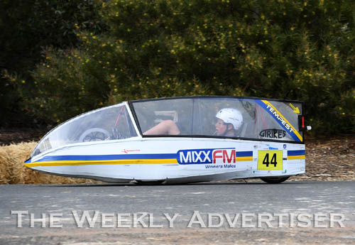 Image - Jason Reichelt driving a Holy Trinity Lutheran School HPV for the first Human Powered Vehicle 'expo' at Dimboola.