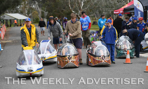 Image - Holy Trinity Lutheran School HPV team head to the line for the first Human Powered Vehicle 'expo' at Dimboola.