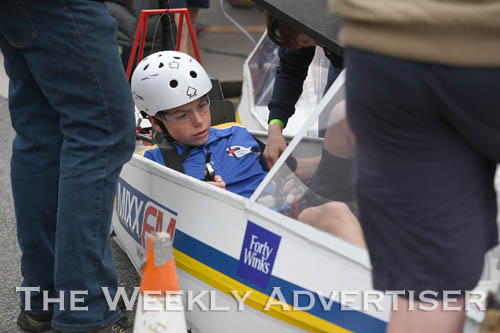 Image - Jason Reichelt gets set in a Holy Trinity Lutheran School HPV for the first Human Powered Vehicle 'expo' at Dimboola.